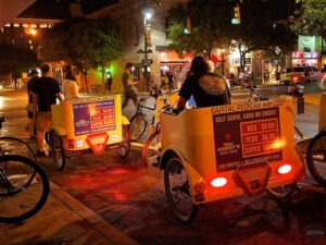 Pedicabs on Sixth Street in Austin