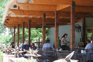 The Shaded Patio of Austin Java on Barton Springs