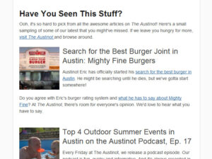 Best of The Austinot Email Newsletter Sample