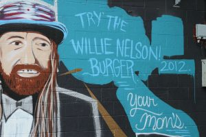 The Willie Nelson Burger Mural at Your Mom's Burger Bar in Austin