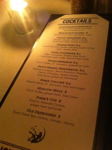 The Goodnight Austin Cocktail Menu