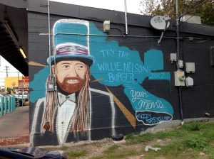 Willie Nelson Mural in Austin at Your Mom's