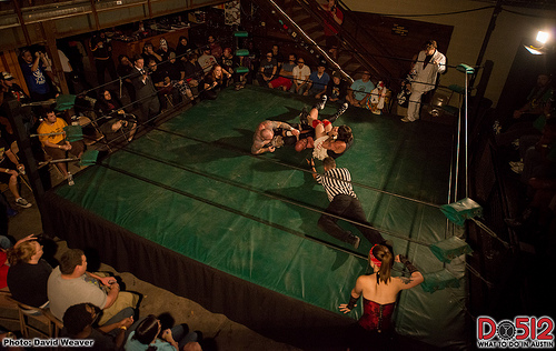 Balcony view of professional wrestling in Austin at Mohawk