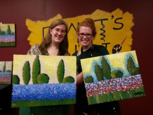 Though Chrissy and I were basing our paintings on the same original, they came out very differently!