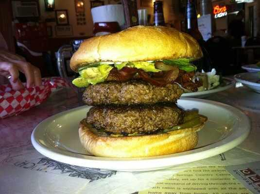 The Double Burger at Alamo Springs Cafe