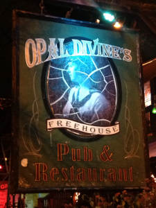 The sign at Opal Divines Freehouse in Austin