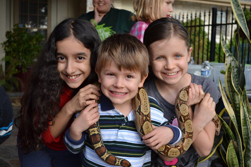 Kids with a Snake at Austin Reptile Shows