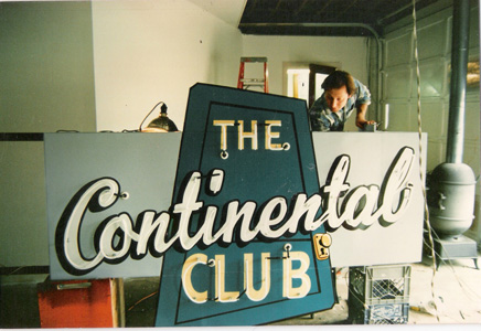 Ben Livingston restoring Continental Club sign