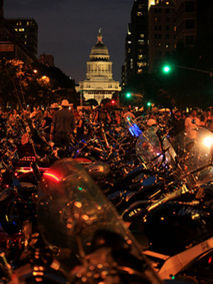 Bikes line Congress Avenue in front of the Capitol during ROT Rally