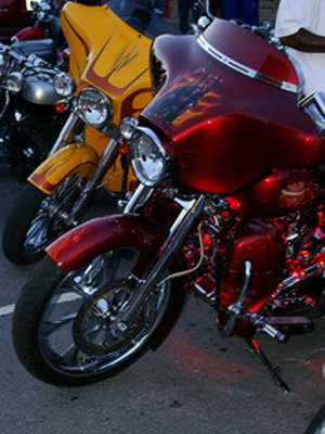 Two Bikes stand on display during the ROT Biker Rally