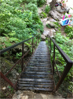 Metal Stairs down to Krause Springs