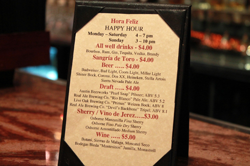 Downtown Happy Hour at Malaga in Austin