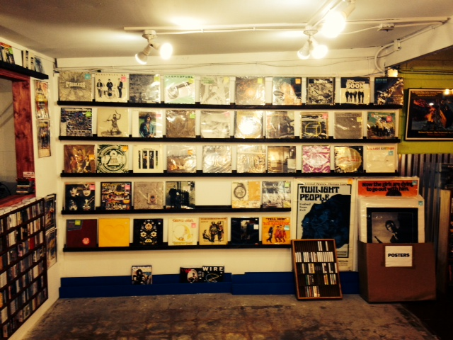 Wall of Vinyl Records at End of an Ear