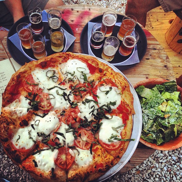 Pizza and Beer at Austin Beer Garden Brewing Company