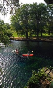 Kayaking on Spring Lake in San Marcos