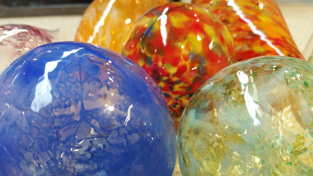 Glass blown ornaments at Blue Moon Glassworks