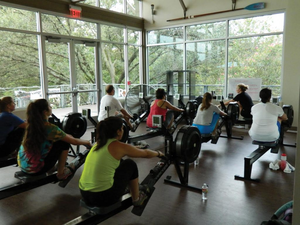 Indoor rowing class at Rō Fitness