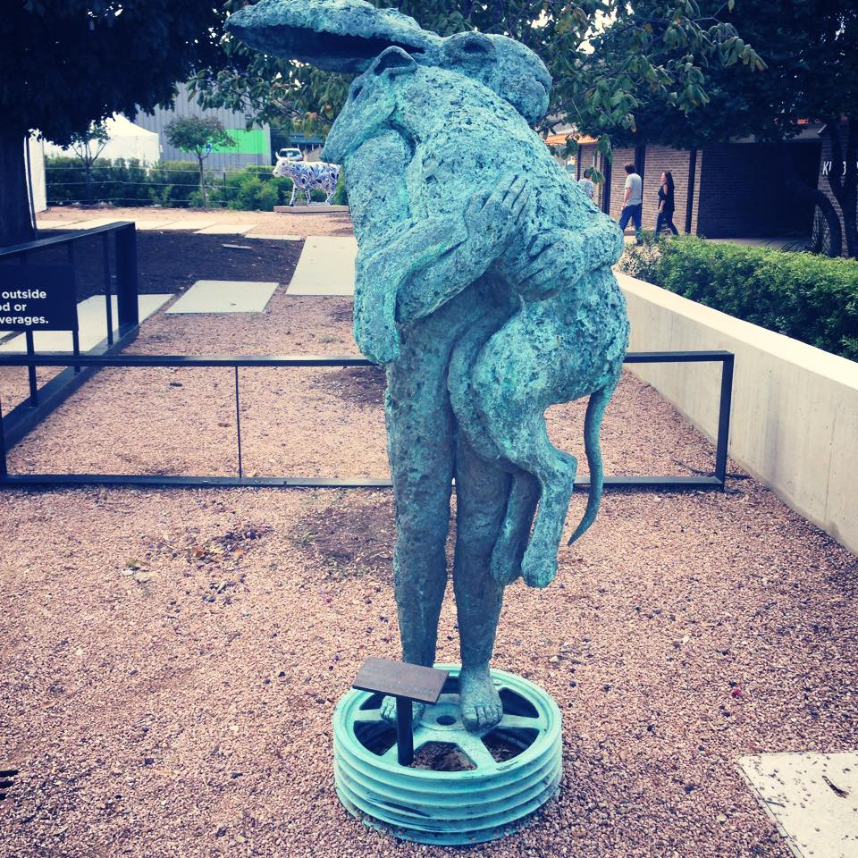 Lady Hare with Dog Sculpture in Austin