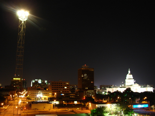 Austin moon tower shines brightly near the state capitol