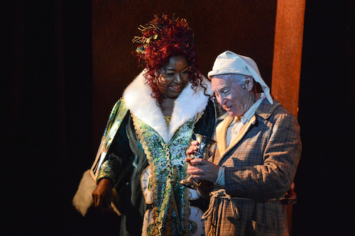 The Ghost of Christmas Past and Mr. Scrooge from A Christmas Carol at Zach Theatre