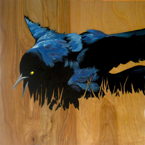 oil painting of a fussy grackle