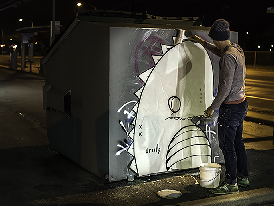 Gay Dino Street Art by Mike Truth Johnson