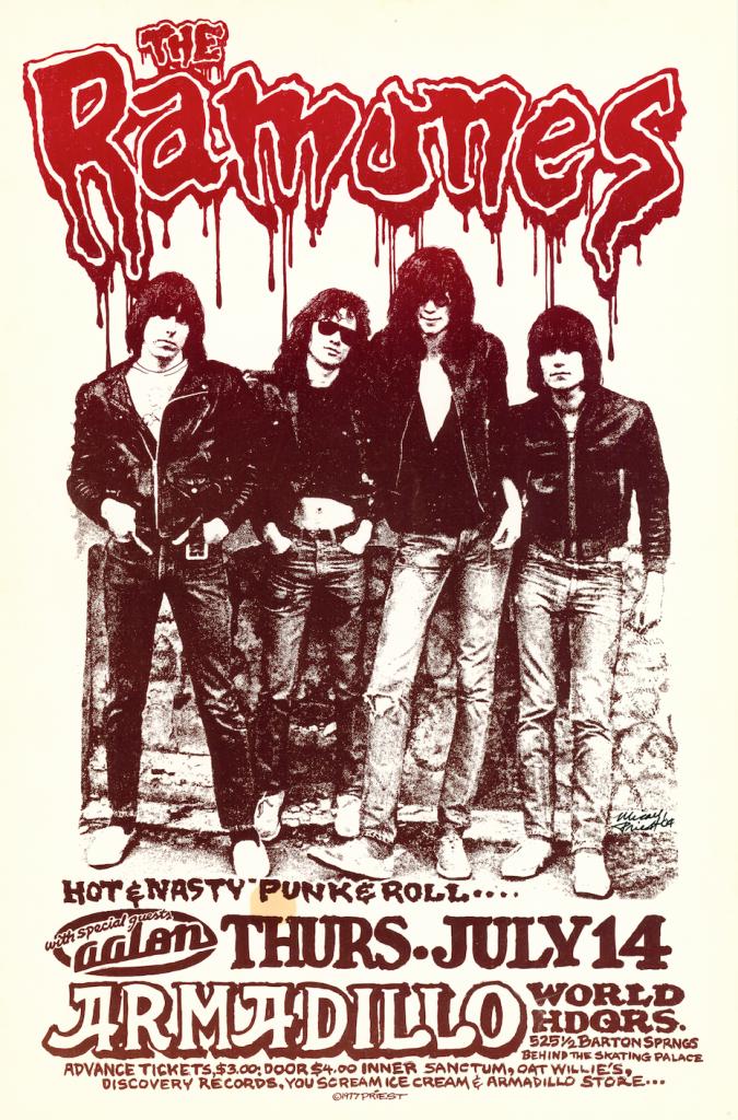 Ramones Music Poster for Armadillo World Headquarters
