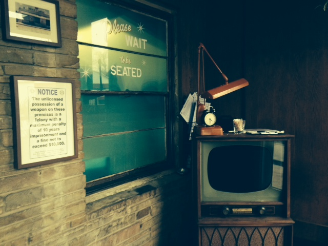 Black and White TV Host Stand at Sawyer and Co