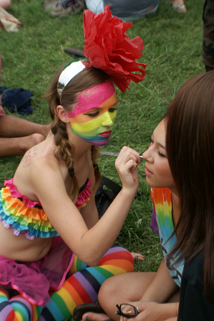 Face painting at Eeyore's Birthday in Austin