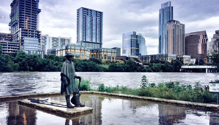 Flooded Stevie Ray Vaughan Statue in Austin