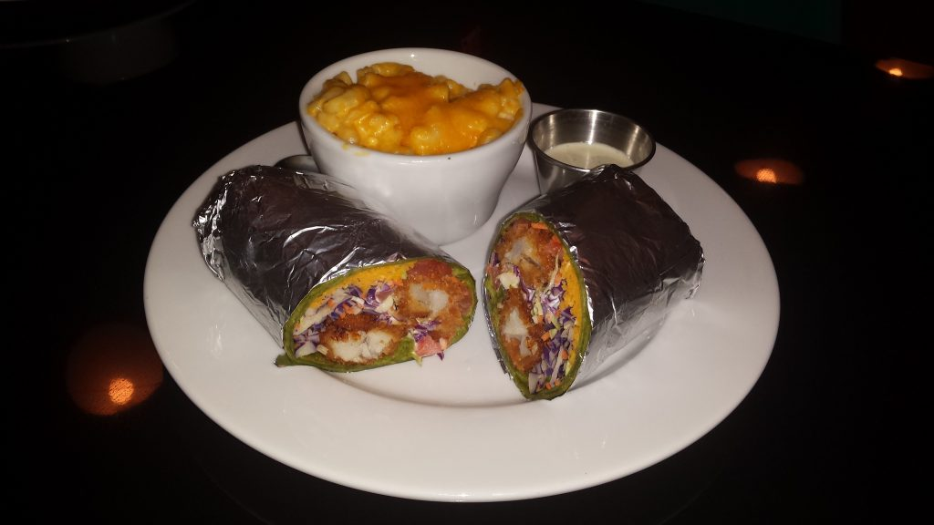 Galaxy Cafe fish wrap with creamy mac and cheese