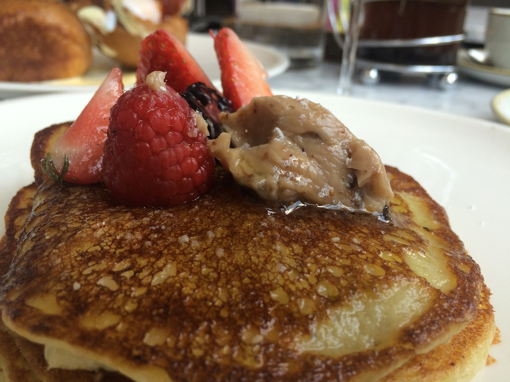 Olive Oil Pancakes with fig and walnut butter at VOX