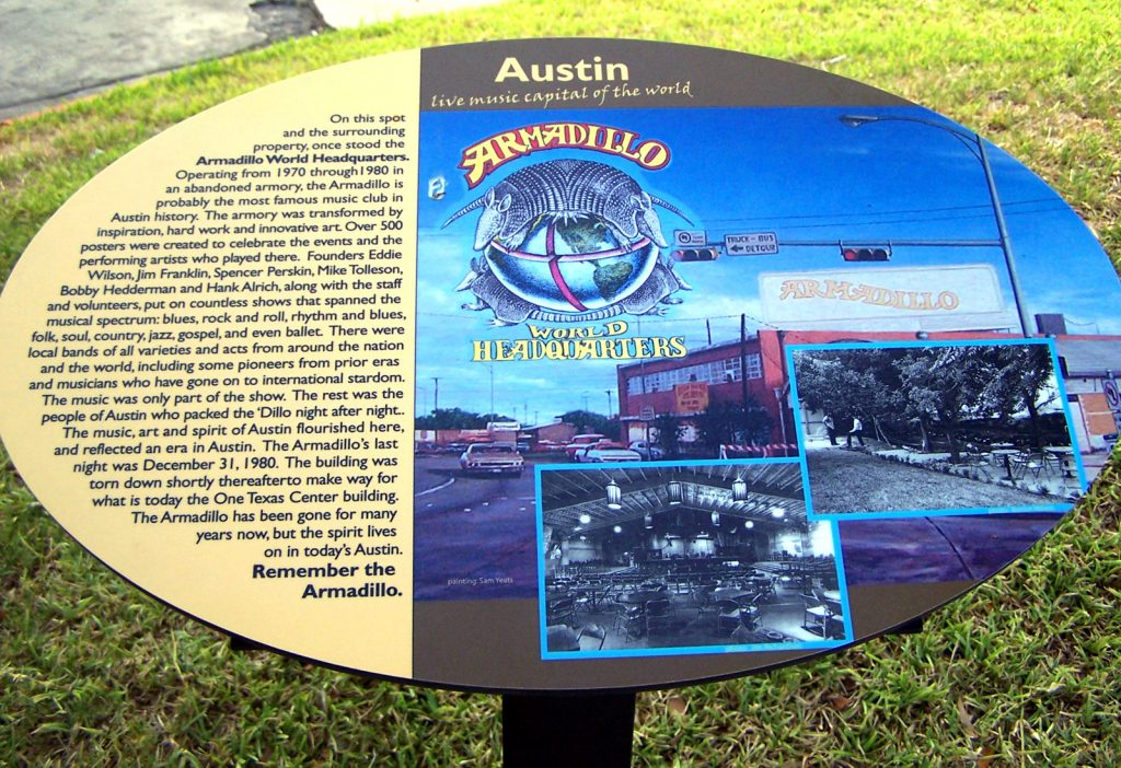 The Armadillo World Headquarters Plaque (Photo credit Larry D. Moore CC BY-SA 3.0 wikicommons)
