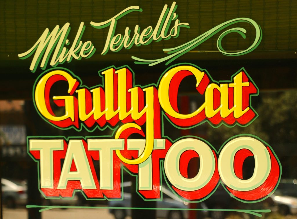 Gully Cat Tattoo Door Sign