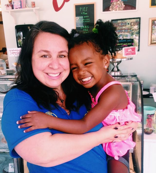 Owner of Sugar Mama's Bakeshop Olivia with her daughter