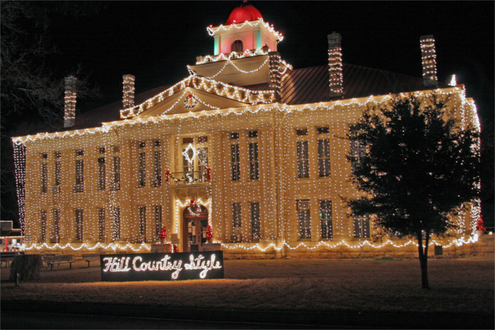The Johnson City courthouse dazzles during Lights Spectacular