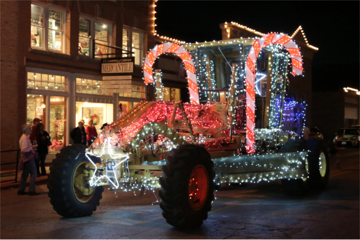 Tractor Decorated for Christmas