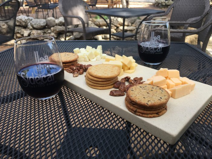 Sidecar Tasting Room Cheese Plate and Wine