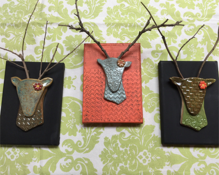 Rita Walker Pottery deer heads as Austin gifts
