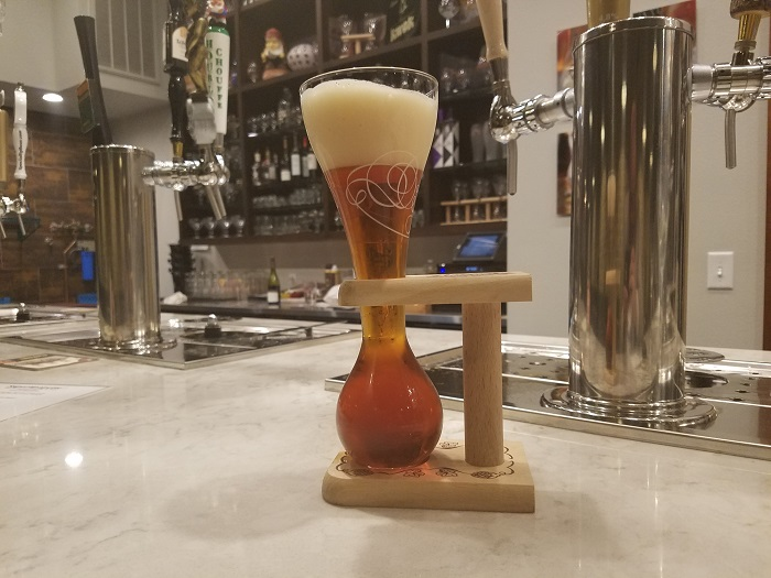 Kwak Glass and Holder at Mort Subite