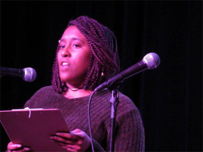 Filmmaker Alexandra Thomas reads a thought provoking piece at One Page Salon