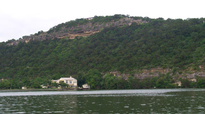 Mount Bonnell as seen from Lake Austin