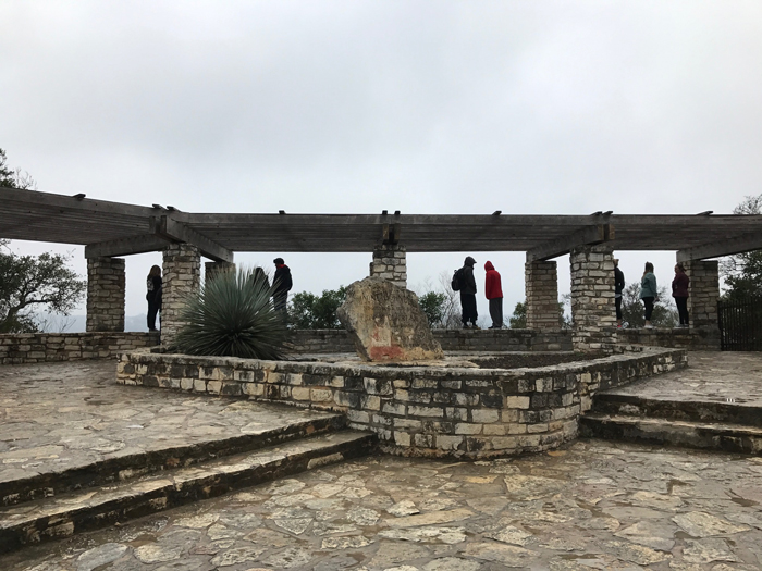 shade arbor and historical monument at Mount Bonnell in Austin