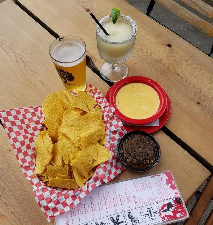 Beer Margarita and Queso at Red's Porch