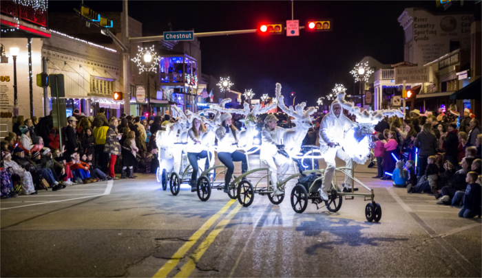 Reindeer Bikes During Bastrop Christmas Parade