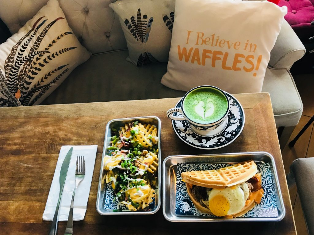 Menu Items All Day Waffle Nachos What the Cluck Matcha Latte
