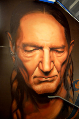 Willie Nelson Mural in Austin by Mez Data