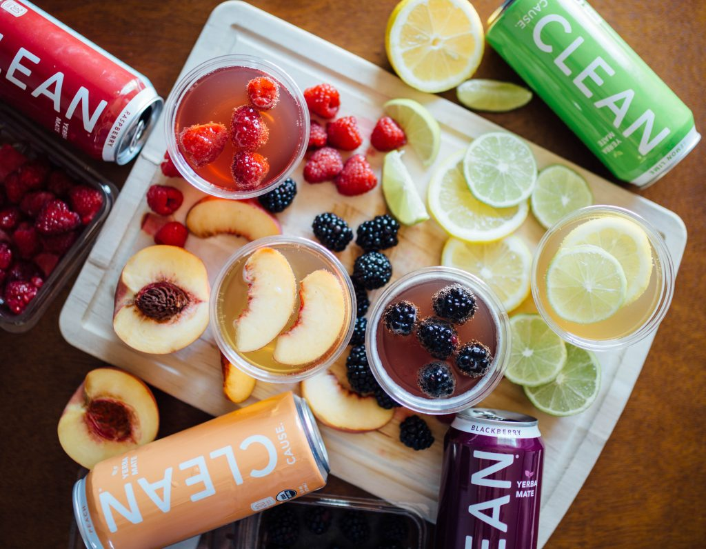 Peach, blackberry, lemon-lime, and raspberry flavors of CLEAN Cause