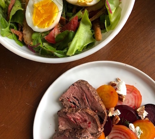 Spring peppercorn beef, chard cobb, and beet and goat cheese