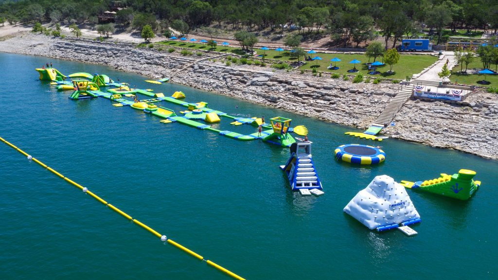 Aerial view of floating obstacle course on Lake Travis